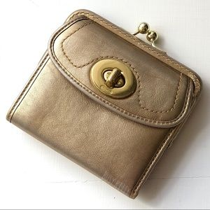 Coach Metallic Gold With Tattersall Lining Wallet